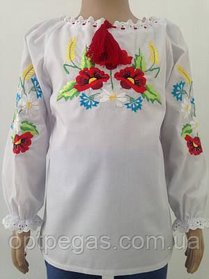 Вишита сорочка для дівчинки з кольоровим орнаметом та довгими рукавами  Батист  продажа 4717d0d7839e3