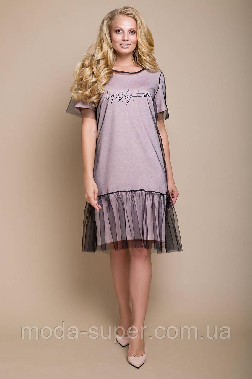 6156552de93 Женское платье-сетка двойка рр 50-58 - МОДНЯШКА moda-super.com