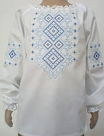 Вишиванка для дівчинки з голубою вишивкою довгий рукав Батист ddc8b3003af06
