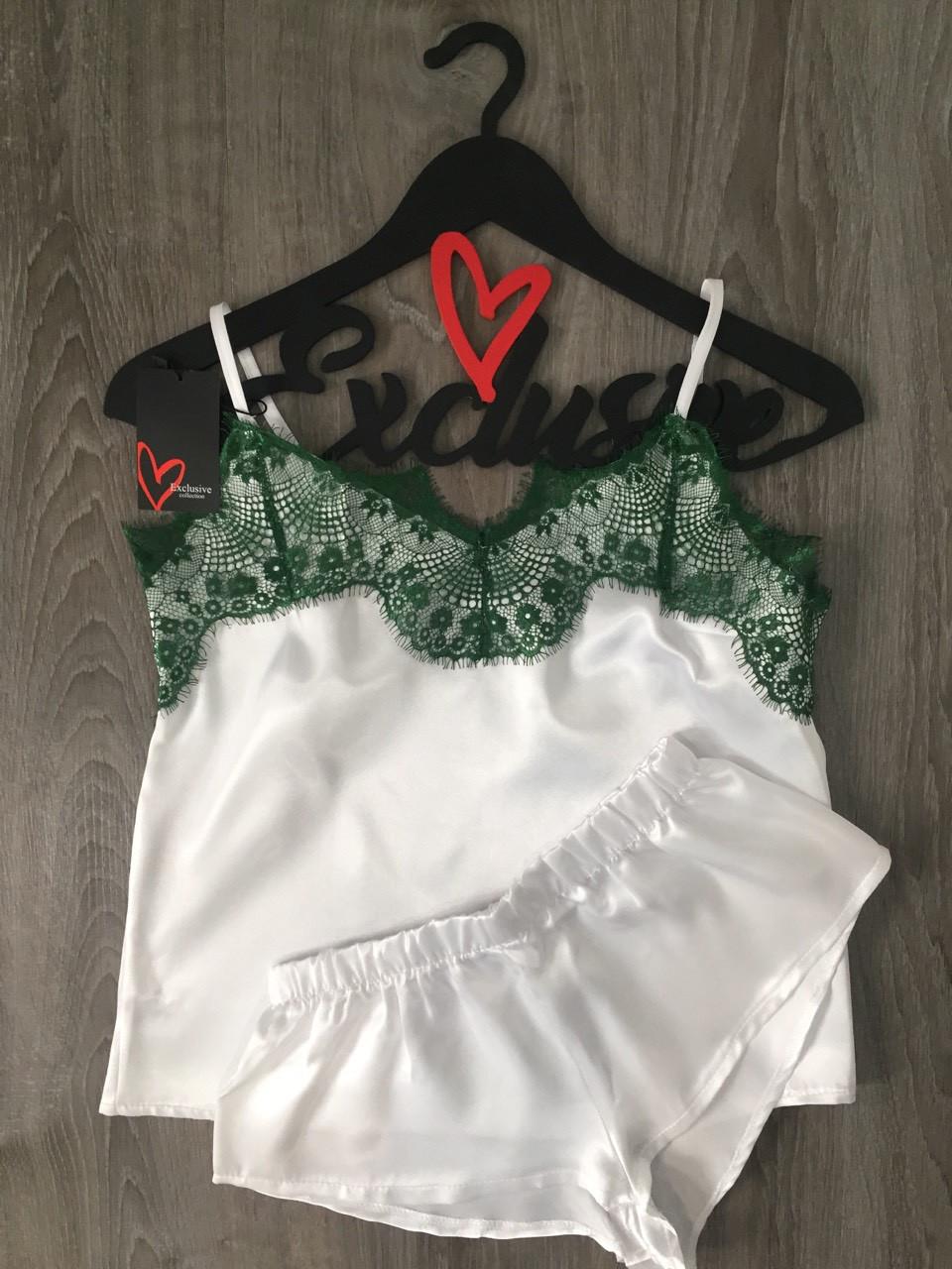 Домашний белый комплект майка и шорты с зеленым кружевом ТМExclusive