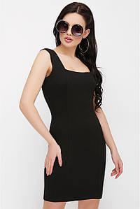 Стильное мини платье без рукав по фигуре однотонное черное