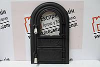 Дверцы печные со стеклом «FLOWERS» 340х540 Чугунные дверцы для печи кухни барбекю