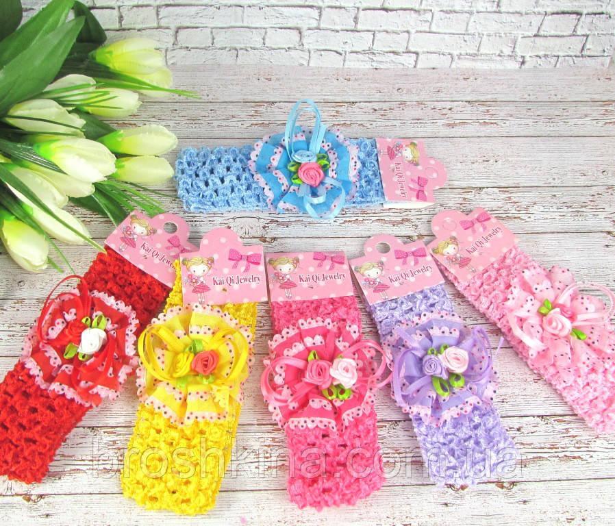 Детские повязочки на голову с цветами 12 шт/уп