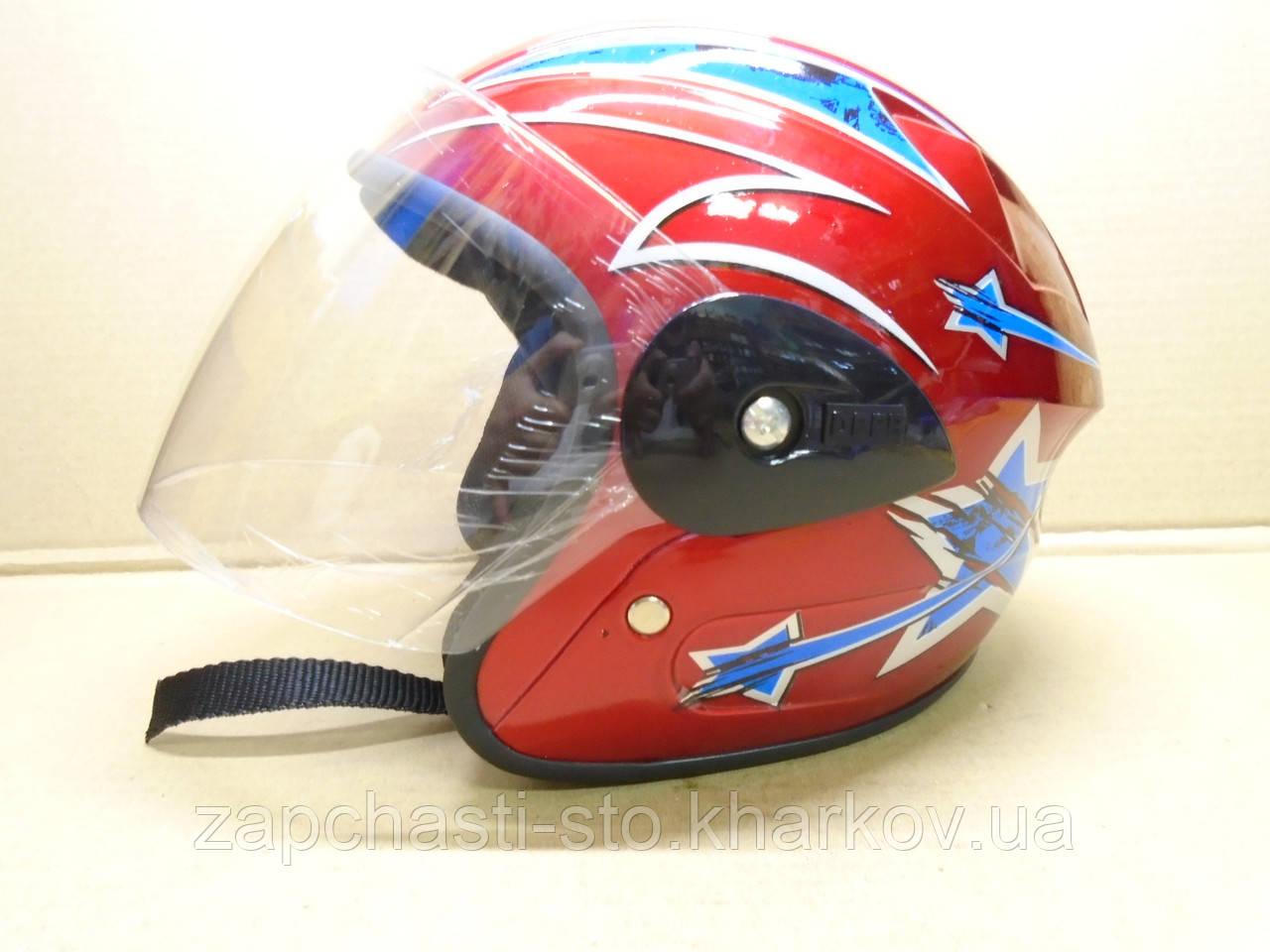 Шлем для скутера, мопеда со стеклом 3/4 детский, подростковый