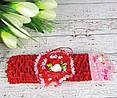 Детская повязочка на голову с цветами красная