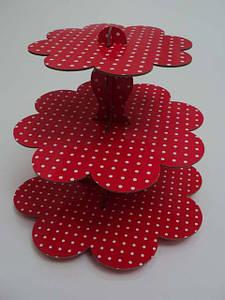 Стойка для капкейков картонная Красный горошек