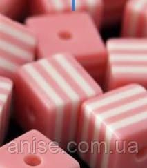 Бусины из Смолы полосатые, Кубики, Цвет: Розовый, Размер: Длина 8мм, Ширина 8мм, Толщина 8мм, Отверстие 1,5мм