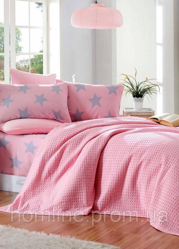 Постільна білизна Eponj Home Paint Pike BigStar pembe рожеве євро розмір