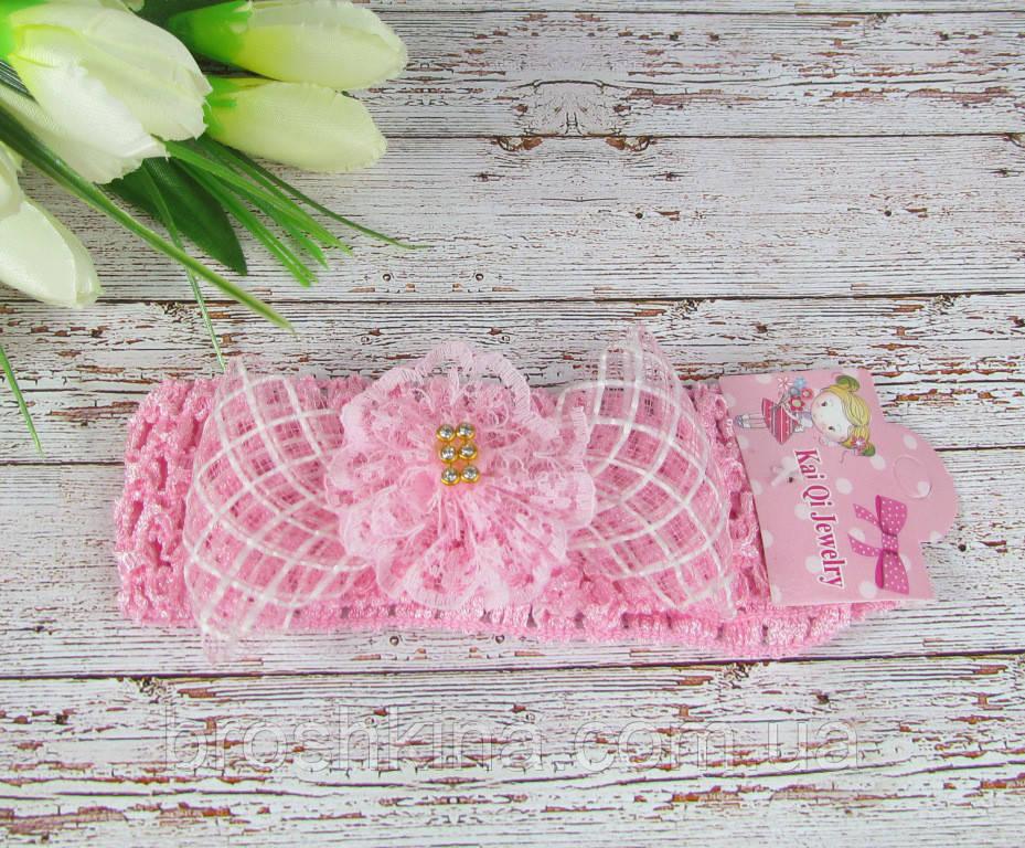 Детская повязочка на голову с бантиком и стразами розовая