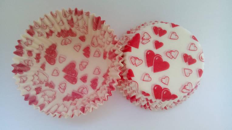 Тарталетки (капсулы) бумажные для кексов, капкейков сердечки 2, фото 2