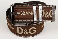 Ремень мужской унисекс джинсовый тканевый брэнд 45 мм коричневый, фото 1