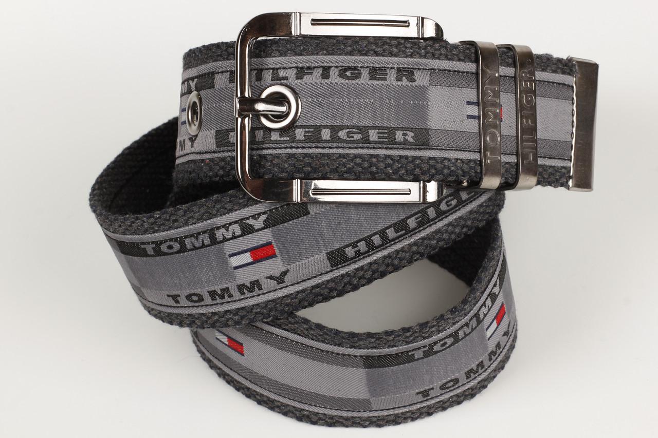 Ремень мужской унисекс джинсовый тканевый брэнд 45 мм серый