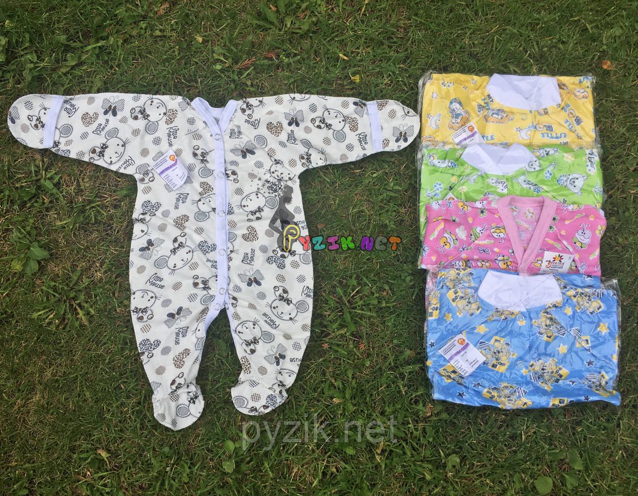 Человечек для новорожденного (хлопок 100%, кулир) 56-62 р-р, белый