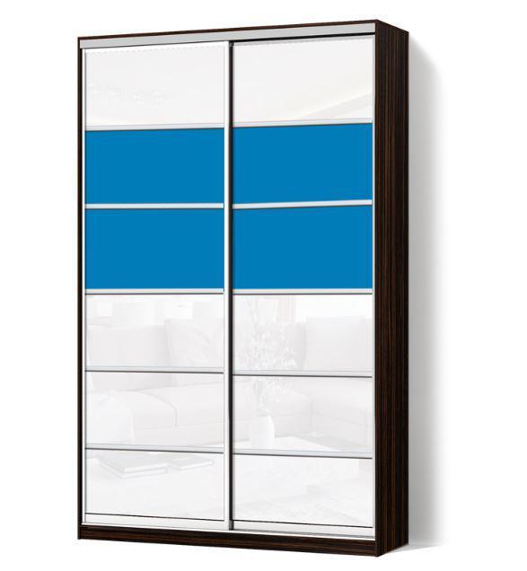 Шкаф-купе Классик двухдверная с фасадами из цветного стекла и тонированных зеркал (венге, 105)