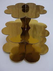 Стойка для капкейков картонная Золото