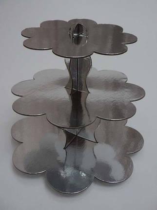 Стойка для капкейков картонная Серебро, фото 2