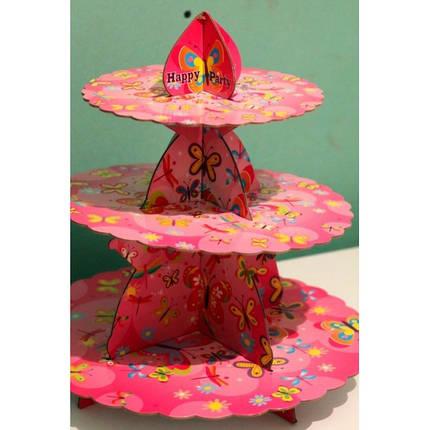 Стойка для капкейков Бабочки розовая, фото 2