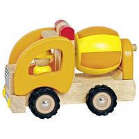 Машинка деревянная goki Бетономешалка (желтый) 55926G
