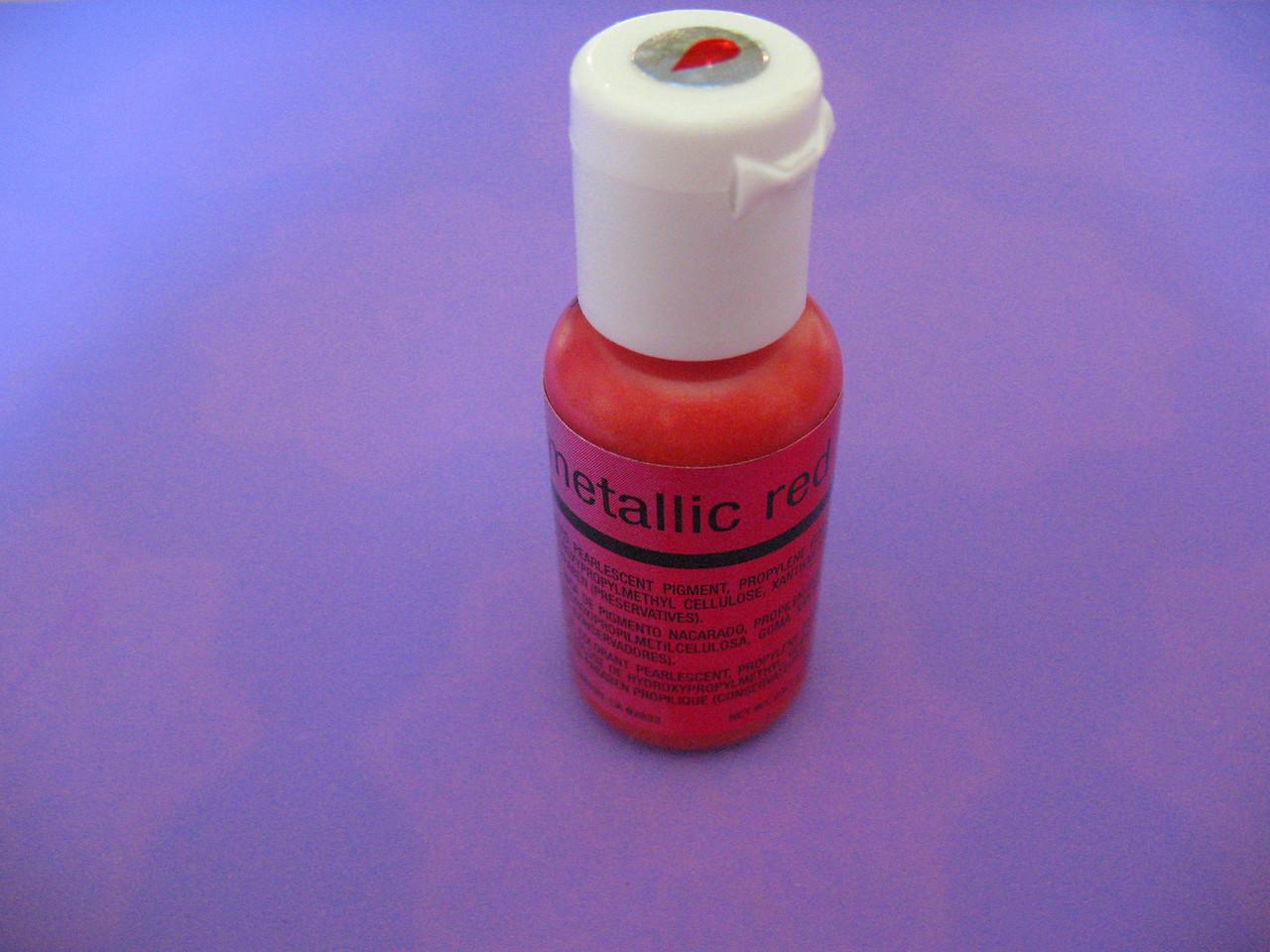 Гелевый краситель Chefmaster перламутровый красный (metallic red) 19 грамм
