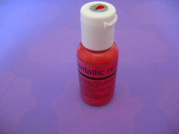 Гелевый краситель Chefmaster перламутровый красный (metallic red) 19 грамм, фото 2