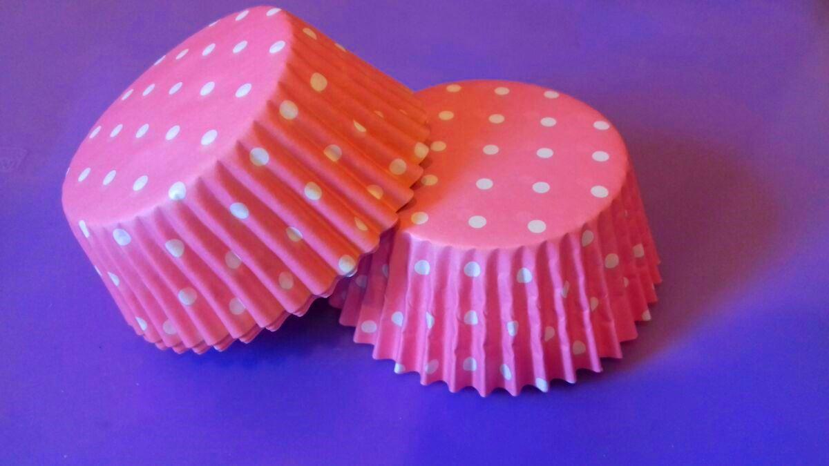Тарталетки (капсулы) бумажные для кексов, капкейков Розовые в белый горох (1000 шт)