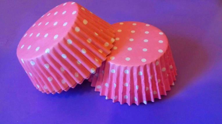 Тарталетки (капсулы) бумажные для кексов, капкейков Розовые в белый горох (1000 шт), фото 2