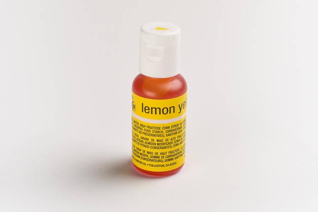 Гелевый краситель Chefmaster Лимонно желтый (Lemon Yellow ) 21 грамм, фото 2