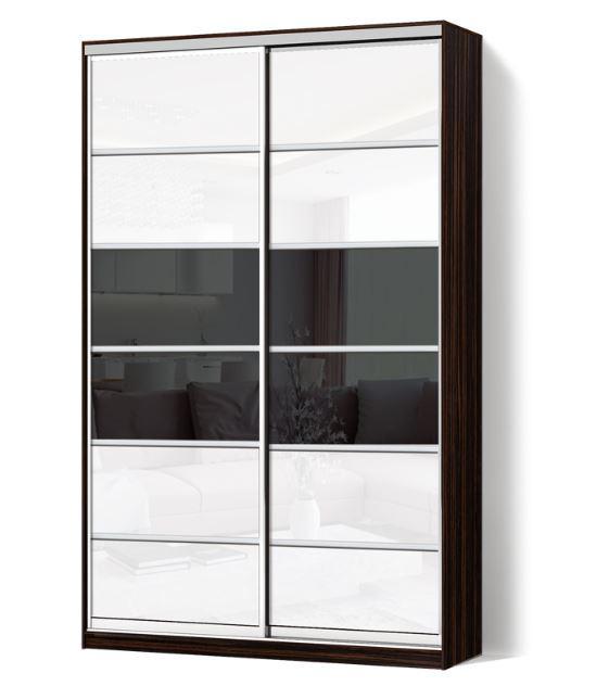 Шкаф-купе Классик двухдверная с фасадами из цветного стекла и тонированных зеркал (Зебрано темный 113-113)