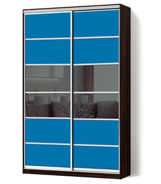 Шкаф-купе Классик двухдверная с фасадами из цветного стекла и тонированных зеркал (Зебрано темный 114-114)