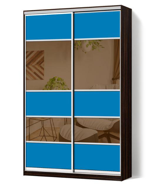 Шкаф-купе Классик двухдверная с фасадами из цветного стекла и тонированных зеркал (Зебрано темный 117-117)