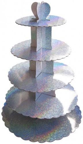 Этажерка для капкейков Серебро из 5-х ярусов