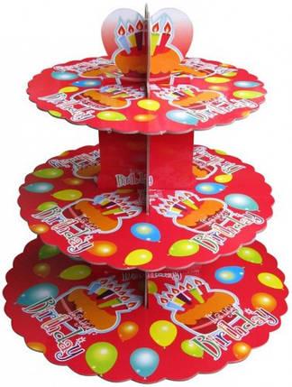 Этажерка для капкейков Birthday красная из 3-х ярусов №1, фото 2
