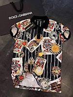 Мужская футболка поло Dolce & Gabbana Дольче и Габана с рисунком карт (реплика)