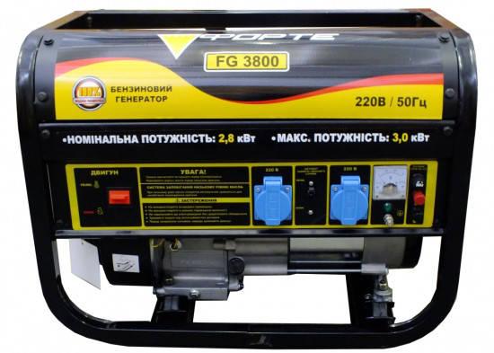 Генератор бензиновый 2,8 кВт однофазный Forte FG3800, фото 2