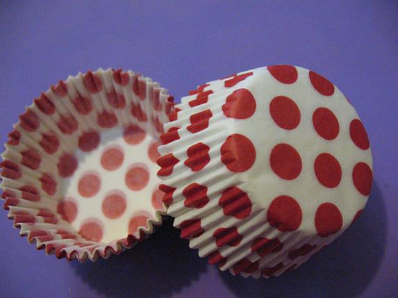 Тарталетки (капсулы) бумажные для кексов, капкейков Белые в красный горох, фото 2