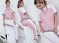 Женский спортивный костюм розовый с белым, с 48 по 54 размер