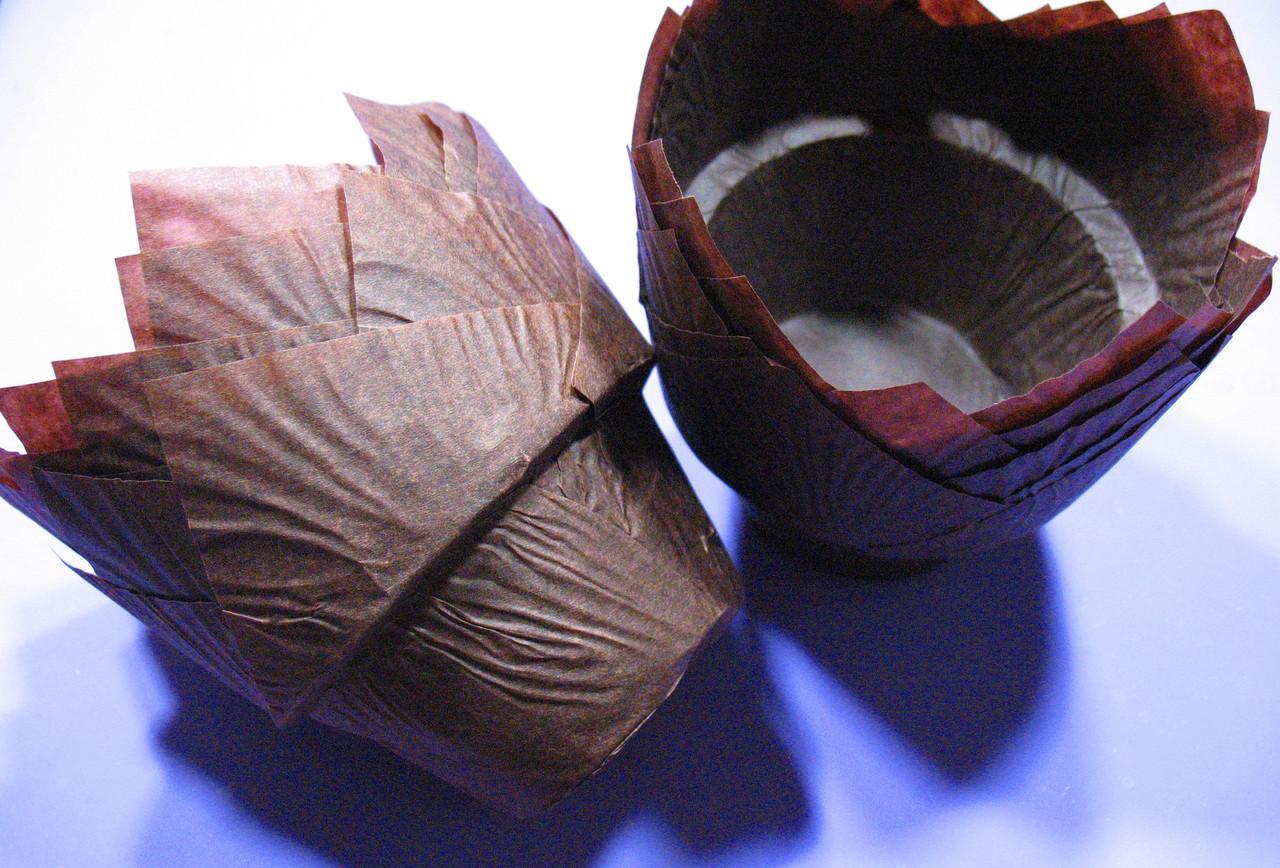 Тарталетки (капсулы) бумажные для кексов, капкейков с УСИЛИТЕЛЕМ Коричневый тюльпан