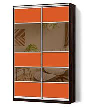 Шкаф-купе Классик двухдверный с фасадами из цветного стекла и тонированных зеркал, фото 2