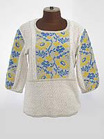 Вязаная вышиванка с коротким рукавом женская | В'язана вишиванка з коротким рукавом жіноча