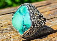 Шикарное кольцо,печатка! Натуральная бирюза! Серебро! Скань!