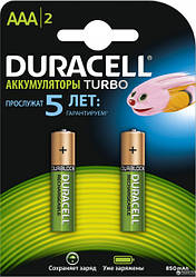 Аккумуляторы Duracell Turbo ААА 850mAh, 2 шт.