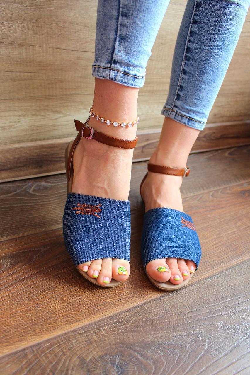 "Босоножки ""Belsta jeans""(Текстиль/джинс,Синий)"