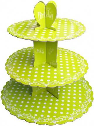 Этажерка для капкейков Birthday Салатовая из 3-х ярусов, фото 2
