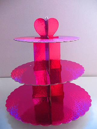 Этажерка для капкейков Малиновая из 3-х ярусов, фото 2