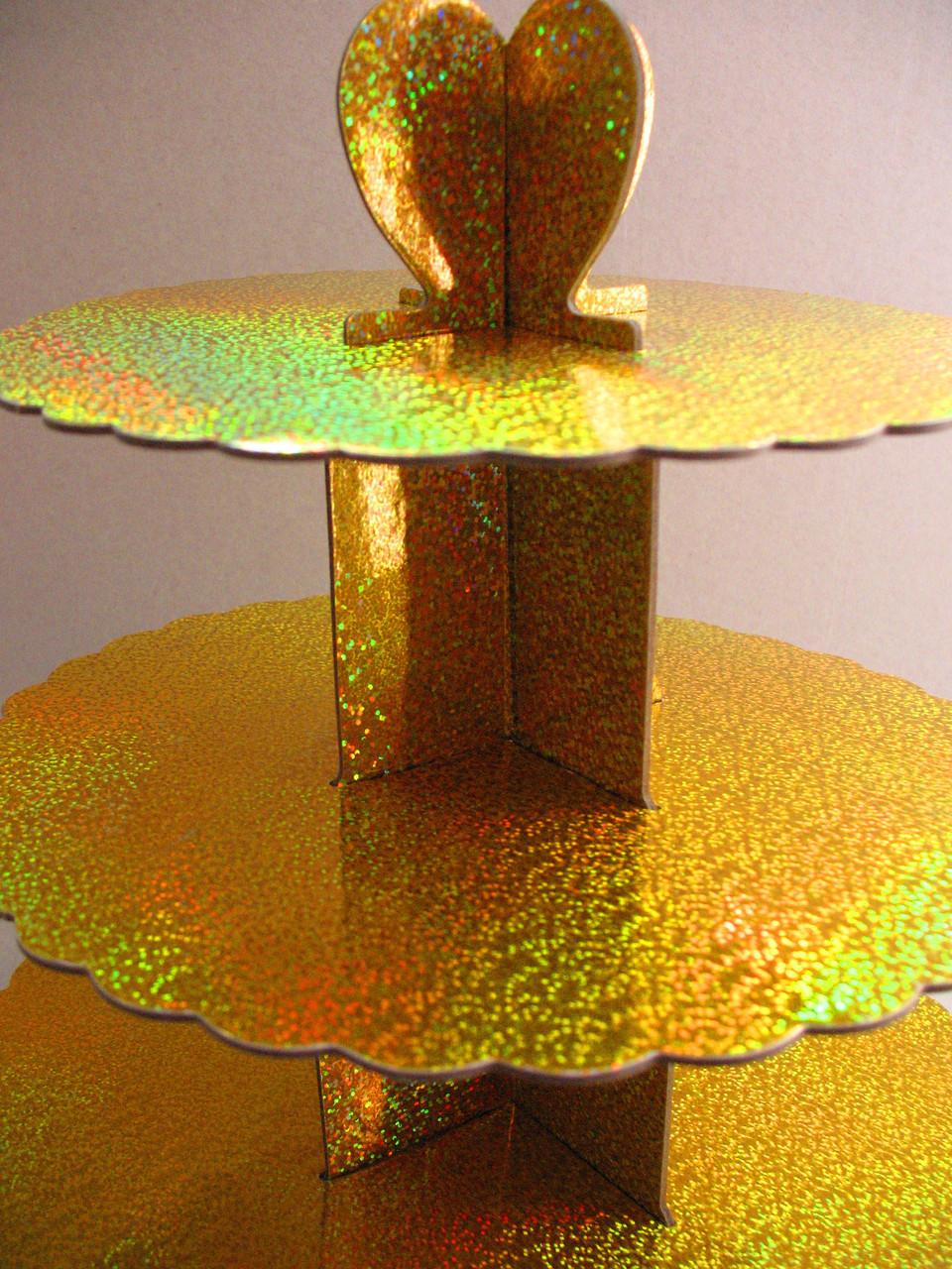 Этажерка для капкейков Золотая из 3-х ярусов