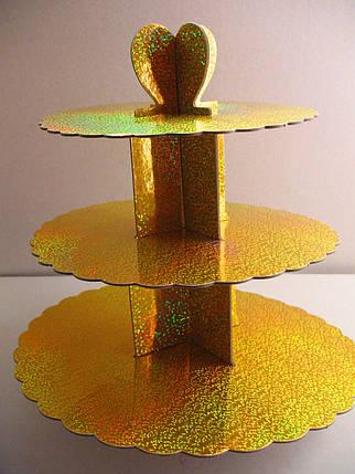 Этажерка для капкейков Золотая из 3-х ярусов, фото 2