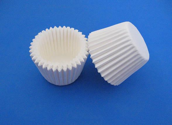 Тарталетки (капсулы) бумажные для кексов, капкейков белые 35*25 мм, фото 2