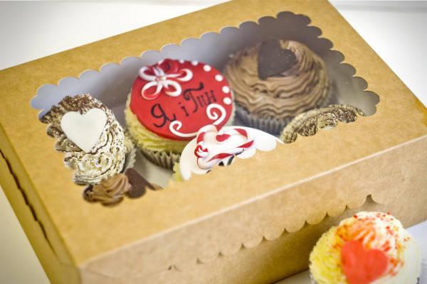 Коробки для кексов, маффинов, капкейков для 6 шт. Крафт (Упаковка 3 шт.), фото 2