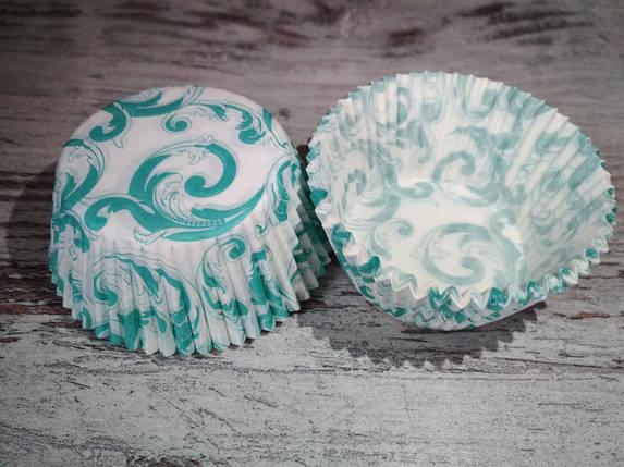 Тарталетки (капсулы) бумажные для кексов, капкейков завиток бирюзовый, фото 2