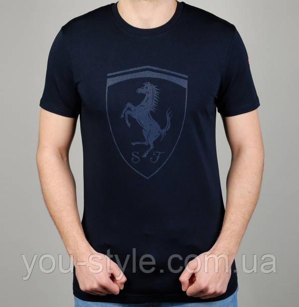 Мужская Футболка Puma Ferrari 4871 Тёмно-синяя